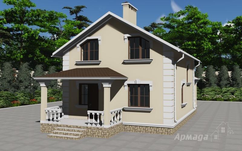 Проект одноэтажного дома с мансардой под двухскатной кровлей.